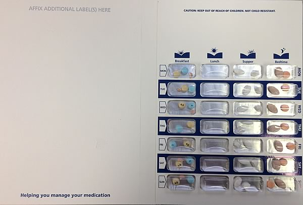 The pharmacy creates these blister packs for the patient which consist of the days of the week and the time they are designed to be taken: morning, noon, dinner, and evening.